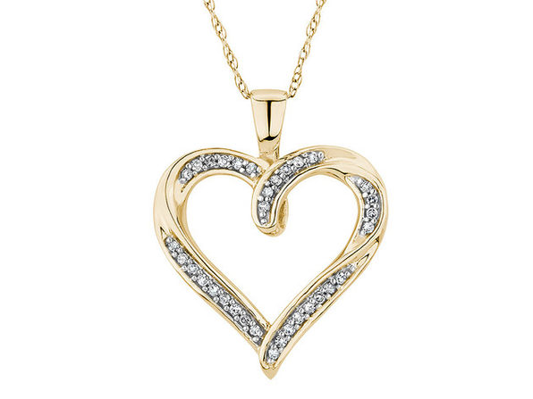 Diamond Heart Pendant Necklace 1/10 Carat (ctw) in 10K Yellow Gold - Product Image