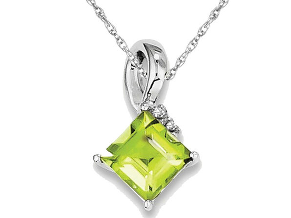 2/3 Carat (ctw) Natural Peridot Pendant Necklace in Sterling Silver with Chain