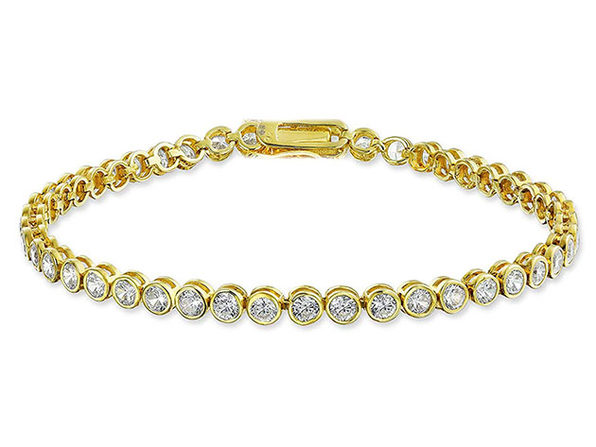 42.00 CTTW Tennis Bracelet made with Swarovski Elements - Gold - Product Image