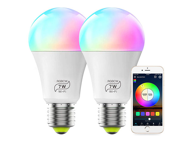 Two colorful LED smart light bulbs, with a small phone showcasing the app
