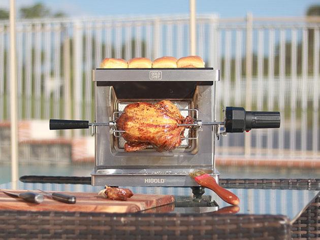 A rotisserie grilling chicken.