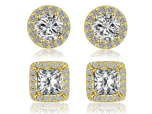Halo Stud Earrings With Swarovski Elements: 2 Pairs (Gold)
