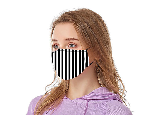 Reusable Ear Loop Face Mask 8-Pack Black & White Stripes - Product Image