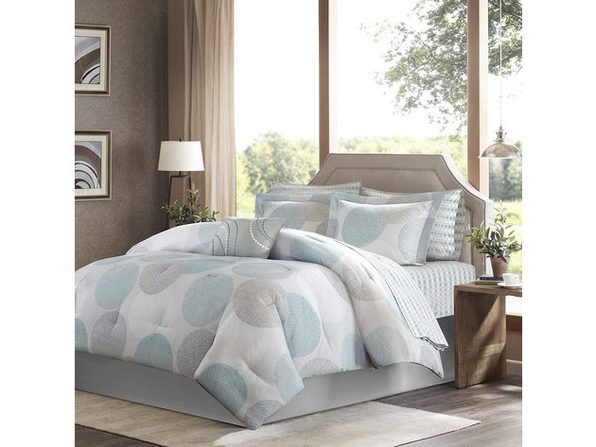 Madison Park Bed in a Bag Comforter Set King Circular Aqua
