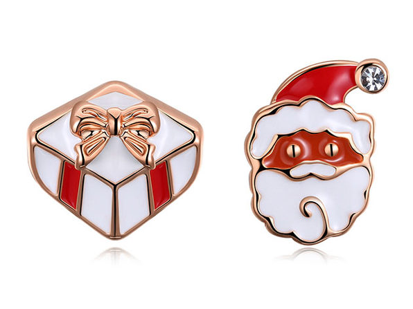 Santa Claus & His Presents Stud Earrings (Rose Gold)