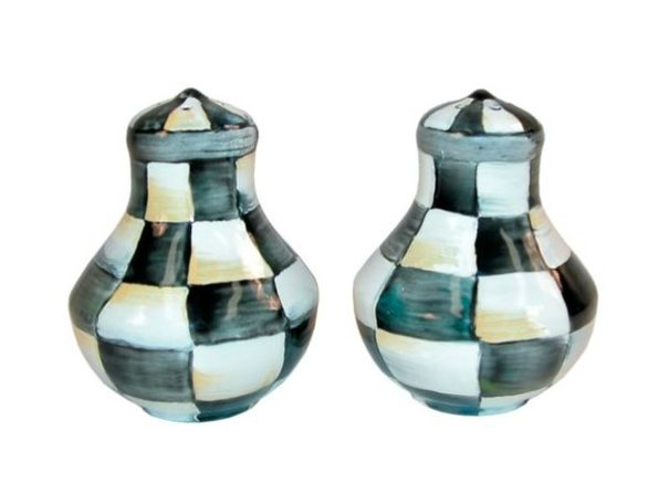 """MacKenzie-Childs Courtly Check Enamel Salt & Pepper Shakers 2.5"""" dia., 3"""" tall. - Product Image"""