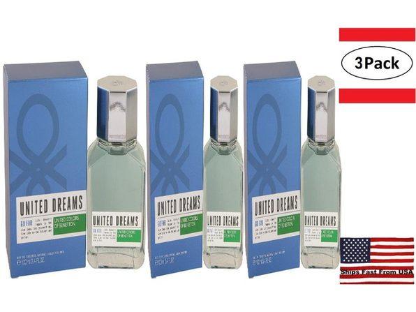 3 Pack United Dreams Go Far by Benetton Eau De Toilette Spray 3.4 oz for Men - Product Image