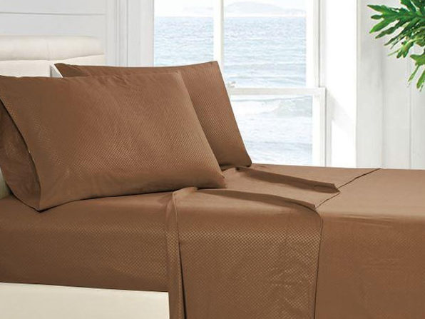 4-Piece Full Checkered Sheet Set Brown - Product Image