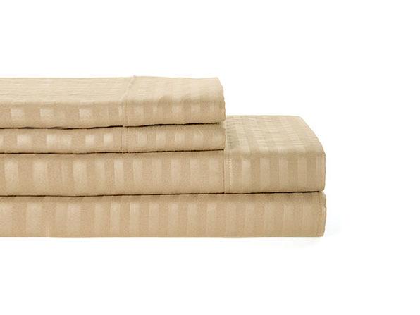 Luxury Ultra Soft 4-Piece Stripe Sheet Set (Taupe/King)