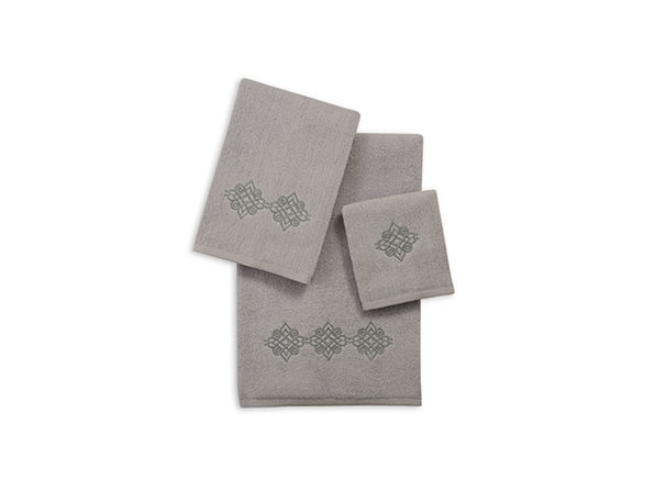 3-Piece Zero Twist Embroidered Towel Sets - Gray - Medallion - Product Image