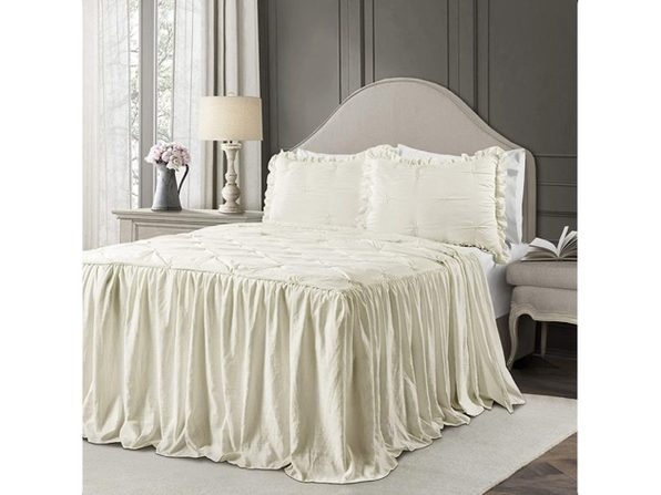 Lush Decor Ravello Pintuck Ruffle Skirt Bedspread Shabby Chic, King - Ivory (Like New, Open Retail Box)