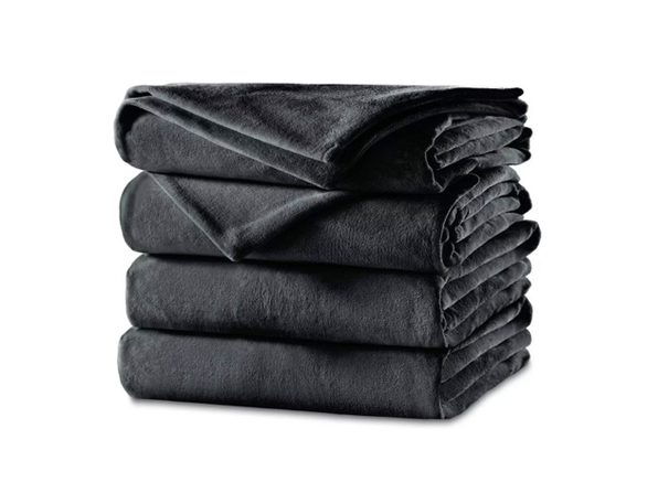 Sunbeam Velvet Plush Electric Heated Blanket King Charcoal Gray Washable Auto Shut Off 20 Heat Settings - Charcoal