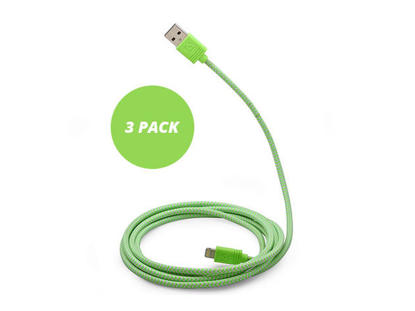 10-Ft Cloth MFi-Certified Lightning Cable 3 Pack (Green)