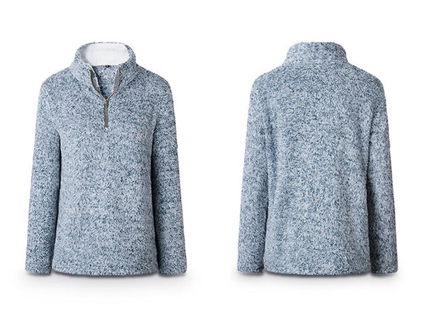 Half Zip Furry Pullover (Blue)