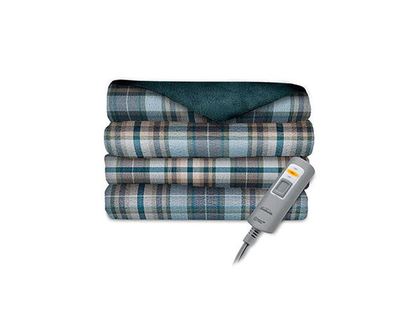 Sunbeam Velvet Plush Electric Heated Throw Blanket Blue Clifford Plaid Washable Auto Shut Off 3 Heat Settings - Blue Clifford Plaid