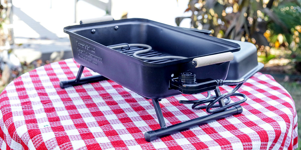 A portable grill on a table
