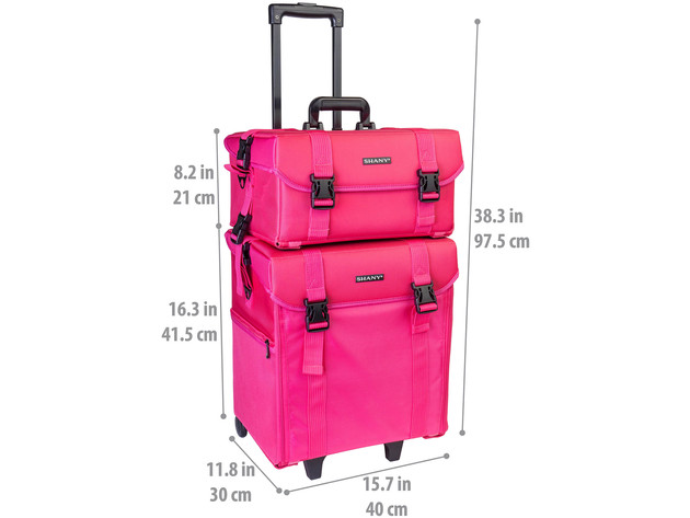 SHANY Soft Makeup Artist Rolling Trolley Cosmetic Case with Free Set of Mesh Bag - SUMMER ORCHID for $249 6