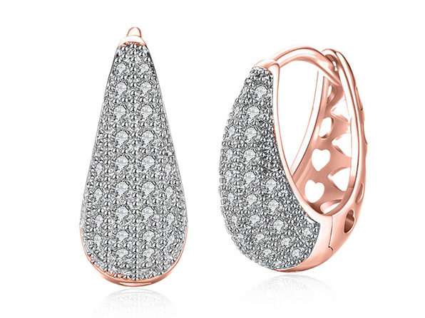 Teardrop Huggie Earrings with Micro-Pav'e Swarovski Crystals (Rose Gold)