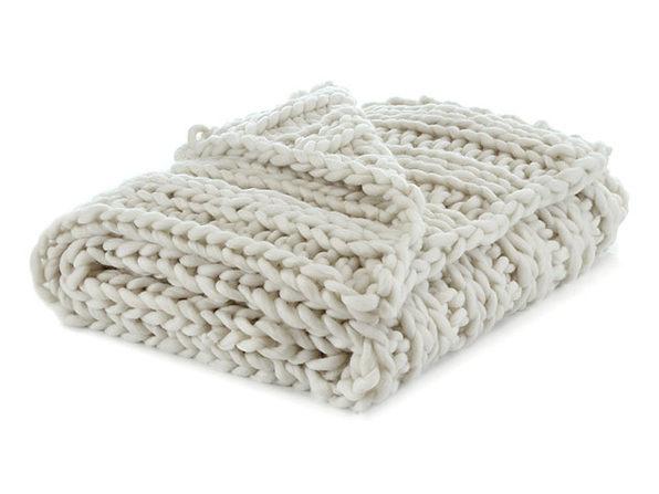 "Cozy Tyme Francine Channel Knit Throw (Cream White/50""x70"")"