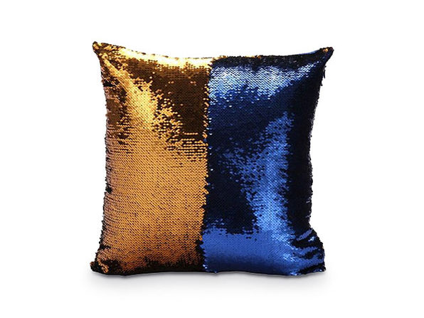 Sequin Pillow Cover- Gold/Blue - Product Image
