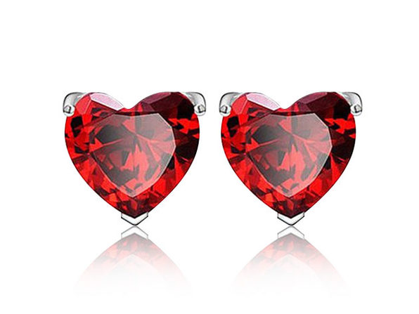 Sterling Silver Heart Shaped Studs Red - Product Image