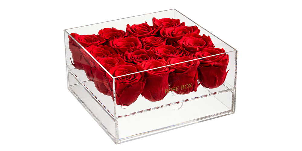 A box of red roses
