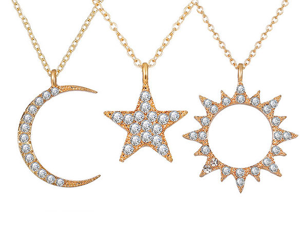 3-Piece Celestial Pave Necklace with Swarovski® Crystals