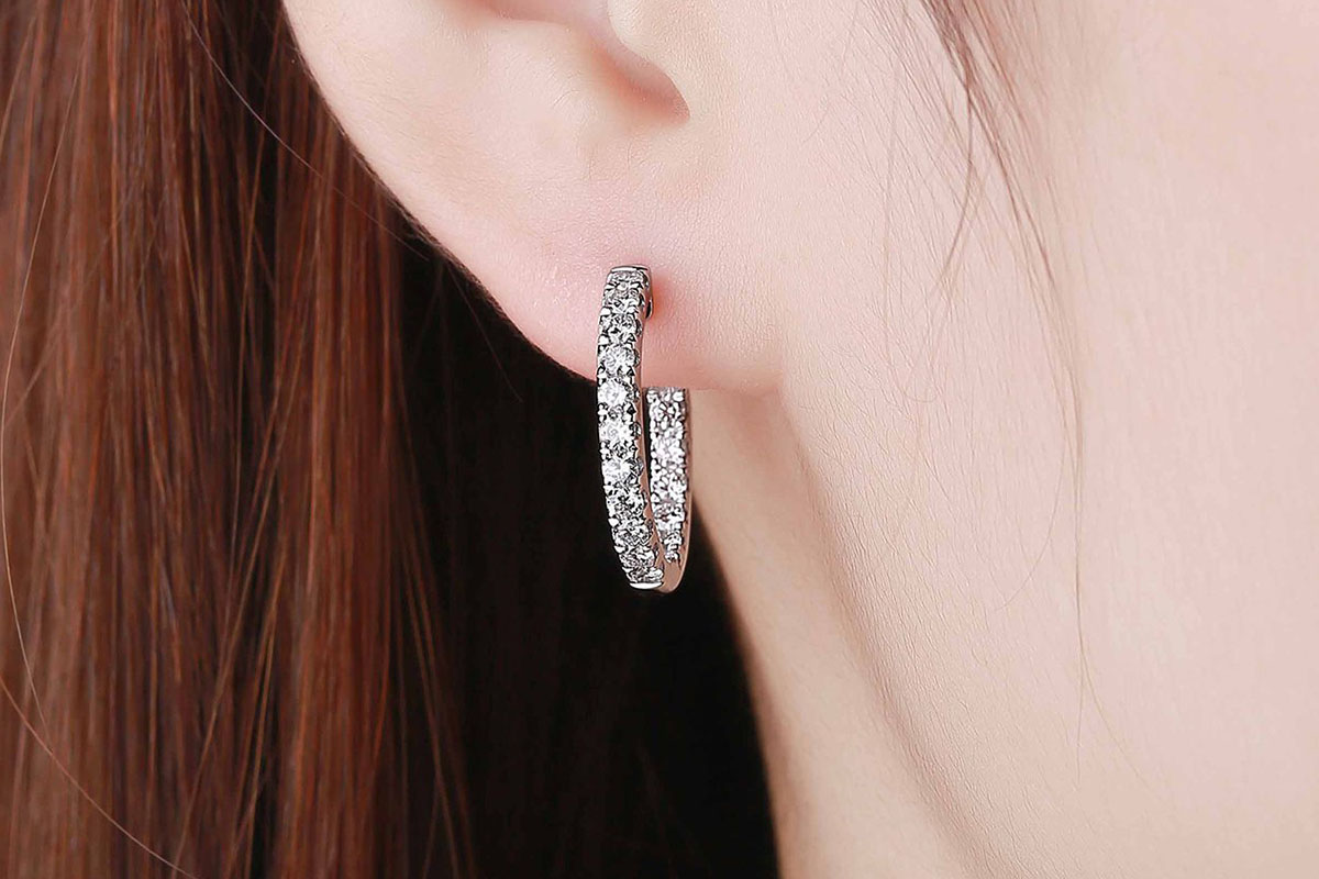 Lab-Grown Diamond Earrings in 10K White Gold