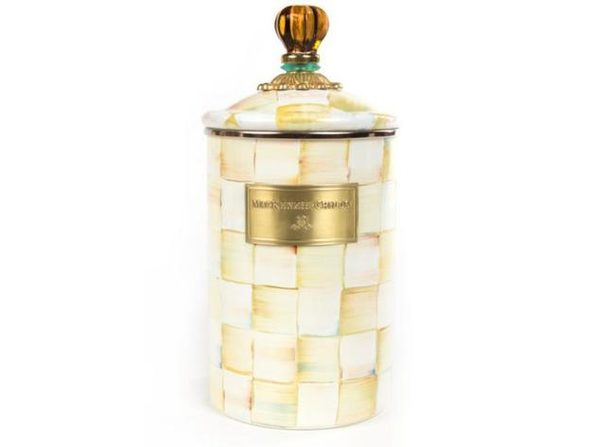 MacKenzie-Childs Parchment Check Enamel Canister - Large