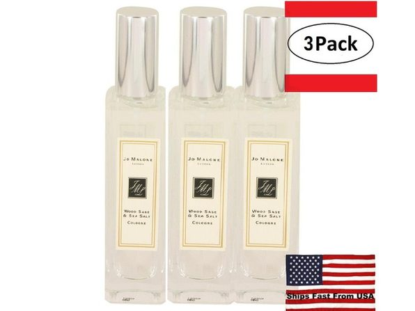 3 Pack Jo Malone Wood Sage & Sea Salt by Jo Malone Cologne Spray (Unisex Unboxed) 1 oz for Men - Product Image