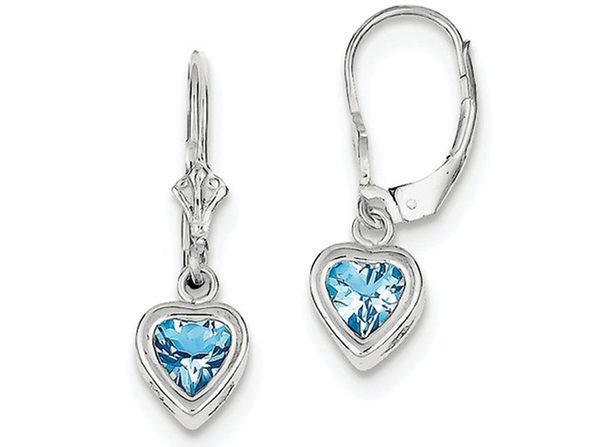Blue Topaz Drop Heart Earrings 2.00 Carat (ctw) in Sterling Silver