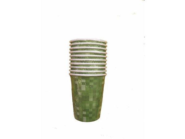 Minecraft Inspired Block Pattern Paper Beverage Cups - Green