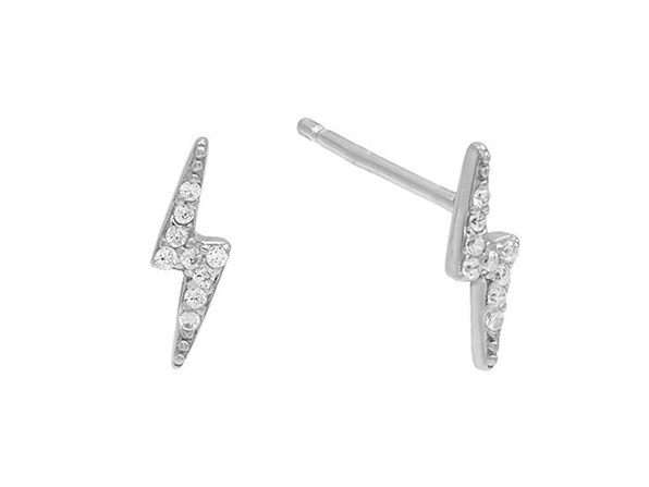 Lighting Bolt Stud Earrings with Swarovski Crystals (Silver)