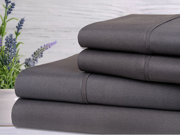 Bamboo 4-Piece Lavender Scented Bed Sheets - Twin - Gray - Product Image