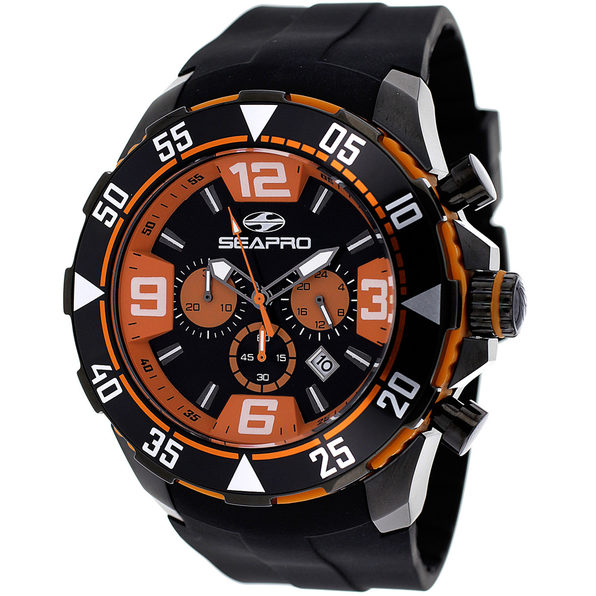 Seapro Men's Diver Black and orange Dial Watch - SP1123