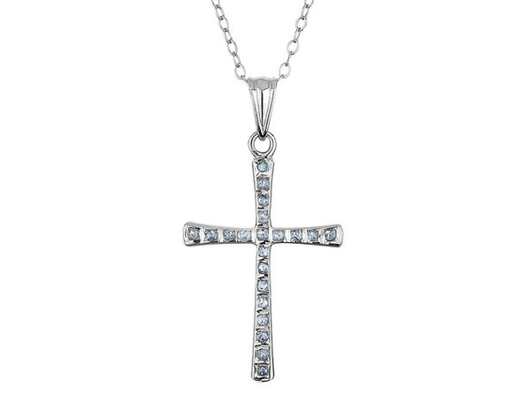 Diamond Cross Pendant Necklace 18 Inches in Sterling Silver with Chain - Product Image