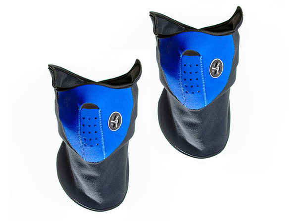 Neoprene/Fleece Neck & Face Masks (Blue/2-Pack)