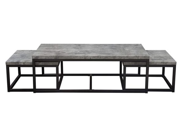 Diamond Sofa 3-Pc Rectangular Atlus Nesting Cocktail Set w/Faux Concrete- Black (Used, Damaged Retail Box)
