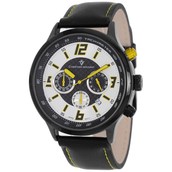 Christian Van Sant Men's Speedway Silver/Yellow Dial Watch - CV3120 - Product Image