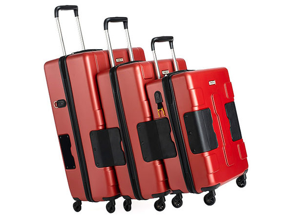 Tach Tuff Attachable Hard Luggage Set (3-Piece/Red)