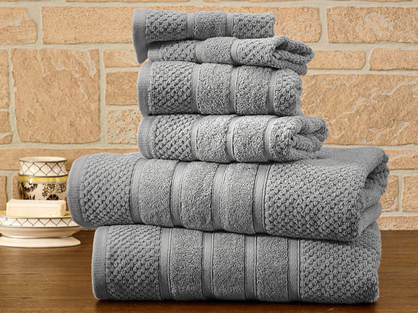 6-Piece Bibb Home Cotton Towel Set (Silver) - Product Image