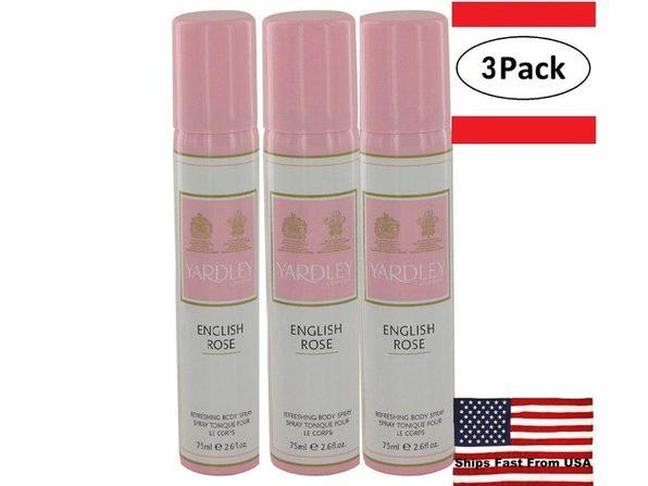 3 Pack English Rose Yardley by Yardley London Body Spray 2.6 oz for Women