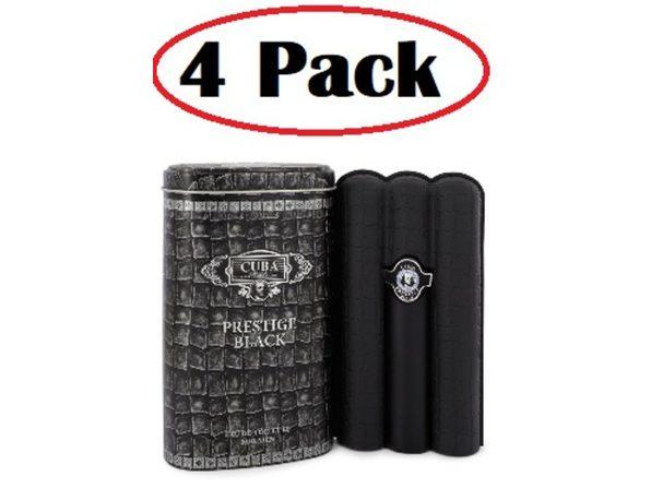 4 Pack of Cuba Prestige Black by Fragluxe Eau De Toilette Spray 3 oz - Product Image