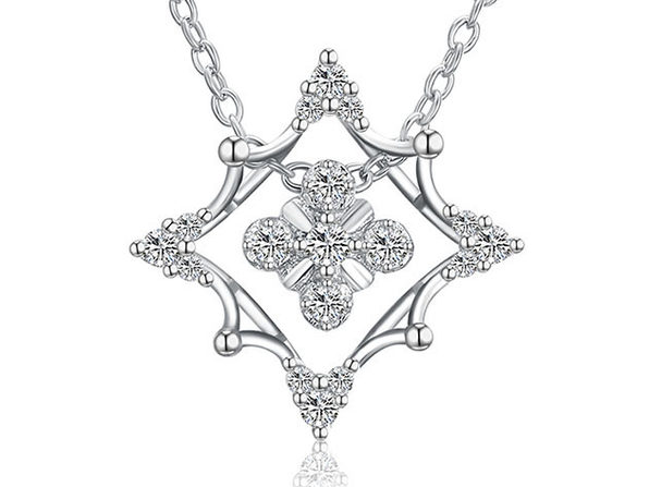 Rhombus Abstract Snowflake Necklace with Swarovski Elements