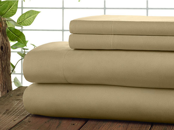 Kathy Ireland 4-Pc Coolmax Sheet Set - Queen - Taupe - Product Image