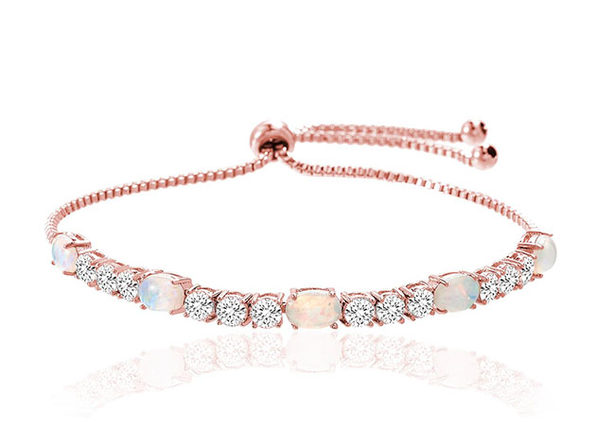 Fiery Opal Adjustable Tennis Bracelet with Swarovski Elements