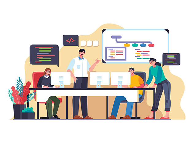 An illustration of people working and speech bubbles with coding language