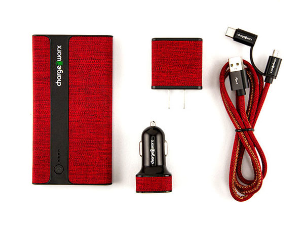 Sleek Canvas Complete Charging Collection w/Micro USB & USB-C Cable Red - Product Image