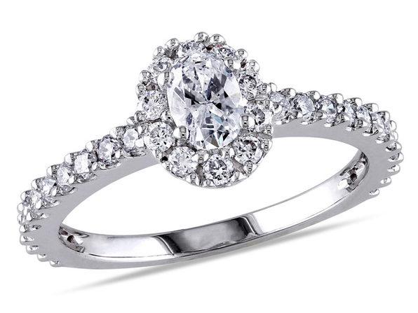 1.00 Carat (ctw G-H, I1-I2) Oval Diamond Engagement Ring in 14K White Gold - 6