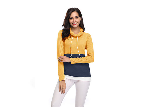 Two-Tone Cowl Neck Pullover with Thumb Holes (Yellow/XL)